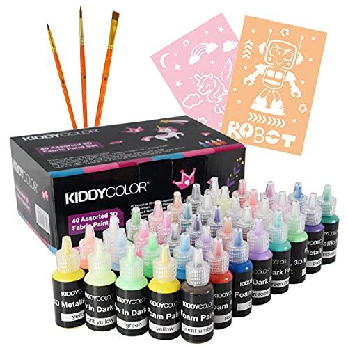 KIDDYCOLOR 40Pcs Pintura permanente de tela 3D para tela, lienzo, madera, cerámica, vidrio Paquete de valor permanente no tóxico