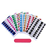 28 Blatt Glitzer Nagelaufkleber mit Nagelfeilen Nagelfolie, Nagelsticker Aufkleber Nagelkunst Sticker Design Selbstklebende Maniküre Sticker Schöne Mode DIY Dekoration