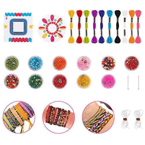FancyWhoop Kit di Braccialetti Dellamicizia, Corde Colorate Perline Kit per la Creazione di Braccialetti fai-da-te con 10 Cotone Colorato, 11 Scatole di Perline, 2 Pannelli Intrecciati per Bambini