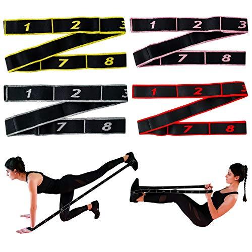 8-Stufiges Fitnessband Gelb mit Schlaufen für Home Workout, Training & Dehnen von Zuhause | Sport Widerstandsband Resistance Band