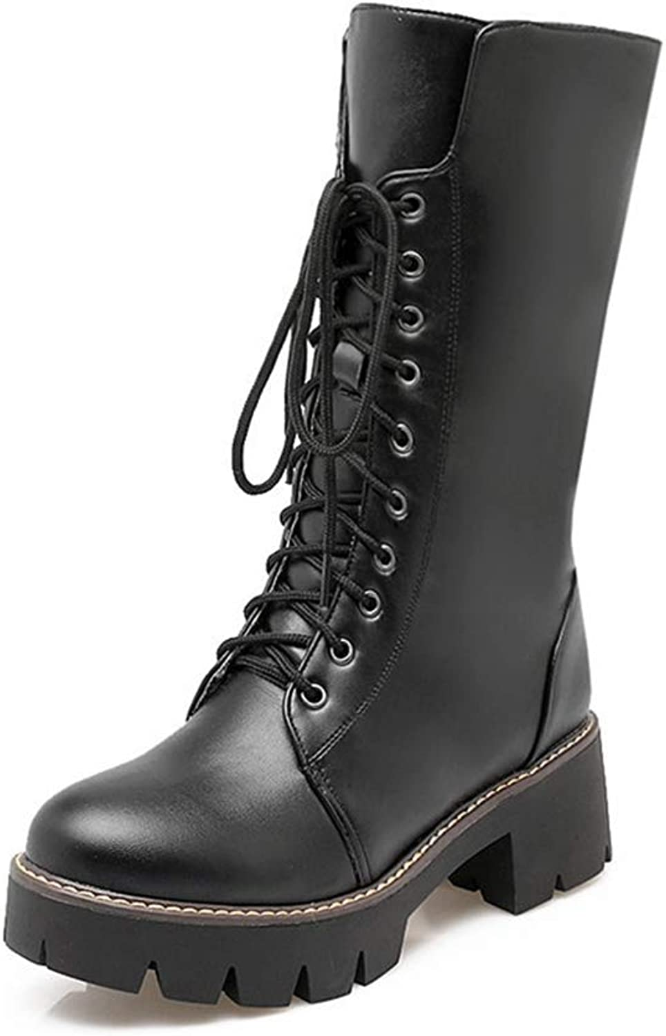 Hoxekle Women Mid Calf Female Winter Long Boot Thick Platform Lace Up Mid Heel Black White Fashional Outdoor shoes
