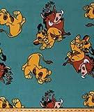 Fleece The Lion King Simba Pumbaa Timon Characters on Teal Green Hakuna Matata Disney Fleece Fabric Print by The Yard (A338.16)