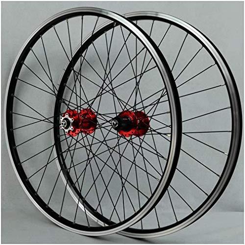 YZU Juego de ruedas de bicicleta MTB para rueda de bicicleta de 26 pulgadas de doble capa de aleación con rodamiento sellado/freno de llanta QR 7-11 velocidad 32H, cubo rojo