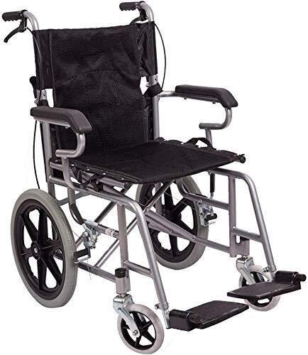 Busirsiz Silla de ruedas de aluminio gruesa, plegable/ligera/empuje de mano/portátil anciano/viaje/scooter/discapacitado, silla de ruedas ligera 100KG