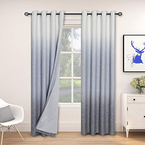 """Central Park Ombre 85% Blackout Room Darkening Window Curtains for Bedroom Heavy Linen Texture 8 Grommets Top Gradient Print Cream White to Navy Blue Curtain for Living Room 50"""" x 84"""", 1 Piece"""