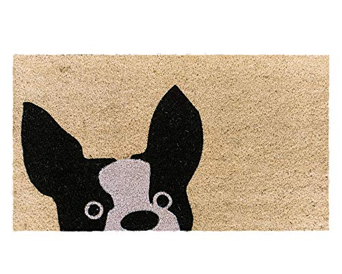 Theodore Magnus Natural Coir Doormat with Non-Slip Backing - 17 x 30 - Outdoor / Indoor - Natural - French Bulldog - COIR-1730-15-171