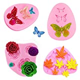 Butterfly/Weed Leaf/Rose Flower Candy Silicone Molds, 4Pcs Cake Baking Mold/Cake Fondant Mold for...