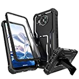 FITO for Nokia 8 V 5G Case, Dual Layer Shockproof Heavy Duty Case for Nokia 8 V 5G UW Phone with Screen Protector, Built-in Kickstand (Black)