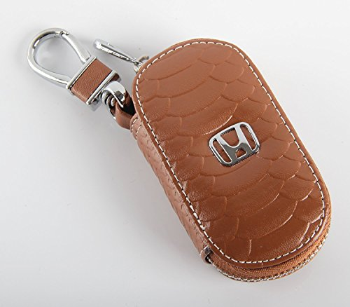 Key Chain Bag Oval Fish Scale Stripes Genuine Leather Ring Holder Case Car Auto Coin Universal Remote Smart Key Cover Fob Alarm Security Zipper Keychain Wallet Bag (Brown, Honda)