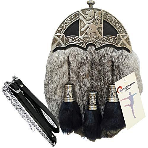 Men's Scottish Kilt Dress Sporran Rampant Lion Cantle & Tassels Caps (free belt)