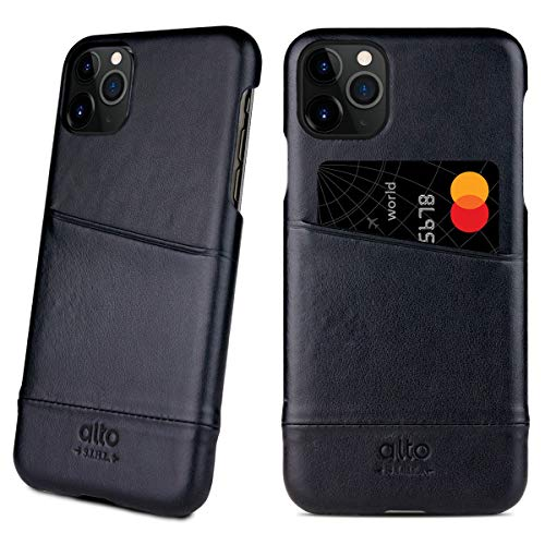 Alto Metro Compatible with iPhone 11 Pro (5.8 inch), Premium Handmade Italian Leather Wallet Case with Card Holder Design(Raven Black)
