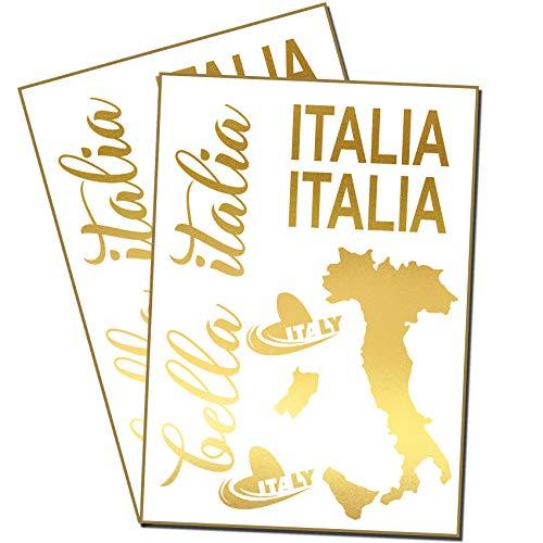 Finest Folia Bella Italia Aufkleber Set Italien für Auto Bus Wohnwagen Anhänger Motorrad Kfz Fahrzeug Autoaufkleber Italienische Karte Flagge Selbstklebend (K131 Gold)