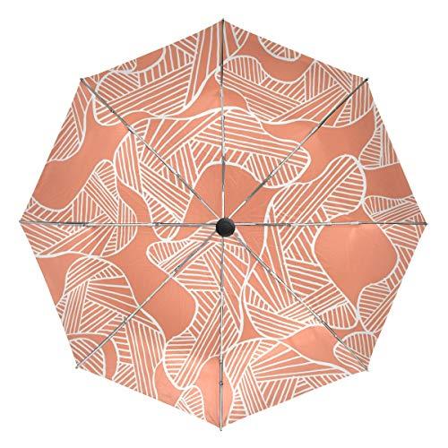 Paraguas de Viaje pequeño a Prueba de Viento al Aire Libre Lluvia Sol UV Auto Compacto 3 Pliegues Cubierta de Paraguas - Formas orgánicas y líneas de Patrones sin Fisuras