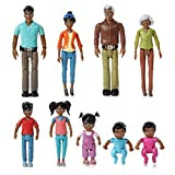 Beverly Hills Doll Collection Sweet Li'l Family African American Dollhouse People Set of 9 Action Figure Set - Grandpa, Grandma, Mom, Dad, Sister, Brother, Toddler, Twin Boy & Girl