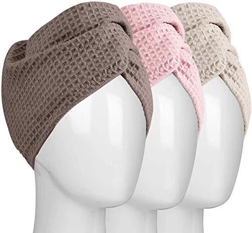 HBselect 3 Toallas para El Cabello Turbante para Bañar Absorbe Humedad con Botón Gorro Ducha Multicolor para Secar El Pelo