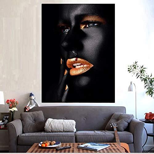 BGFDV Pintura al óleo de Sangre de Mujer Africana Negra y Dorada sobre Lienzo, póster e Imagen artística en la Pared de Impresiones para la Sala de Estar