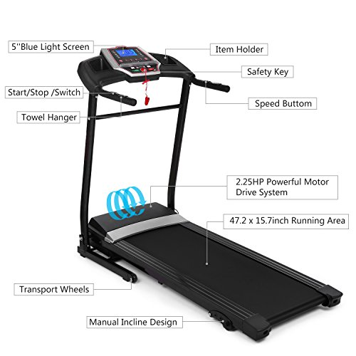 Folding Electric Treadmill Incline with Smartphone APP Control, Power Motorized Fitness Running Machine Walking Treadmill Easy Assembly (Black)