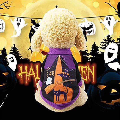HYwot Kleiner Hund Pullover Kostüm, Welpen-Katze-Haustier-Halloween-Kürbis-Kopf-T-Shirt Kleidung, Kitten Winter Plüsch Mantel Zu Halloween-Feiertag, Haustier-Party Oder Warm,Lila,XL