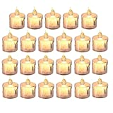 Akemaio 24 Piezas de Luces LED de té, Velas sin Llama parpadeantes, Velas eléctricas, decoración para Navidad, árbol de Navidad, Fiesta de Bodas de Pascua