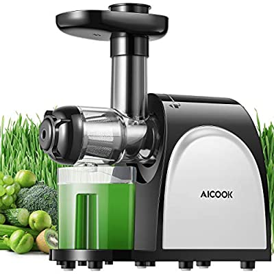 Juicer Machines, Cold Press Juicer Machine Easy to Clean, Quiet Motor & Reverse Function, Two Filters, BPA-Free, High Nutrient Fruit and Vegetable, Recipes