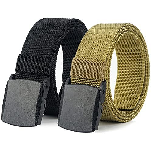 Hoanan 2 Pack Nylon Belts for Men, Heavy Duty Thick Nylon Web Non-metal Tactical Hiking Belt