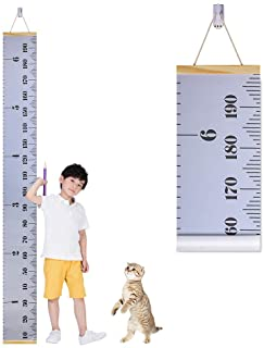 Cute Hanging Wall Ruler Baby Growth Chart for Child Wood Frame Fabric Canvas Kids Growth Chart Height Measurement Ruler with Removable Hook Pink Accmor Growth Chart for Kids