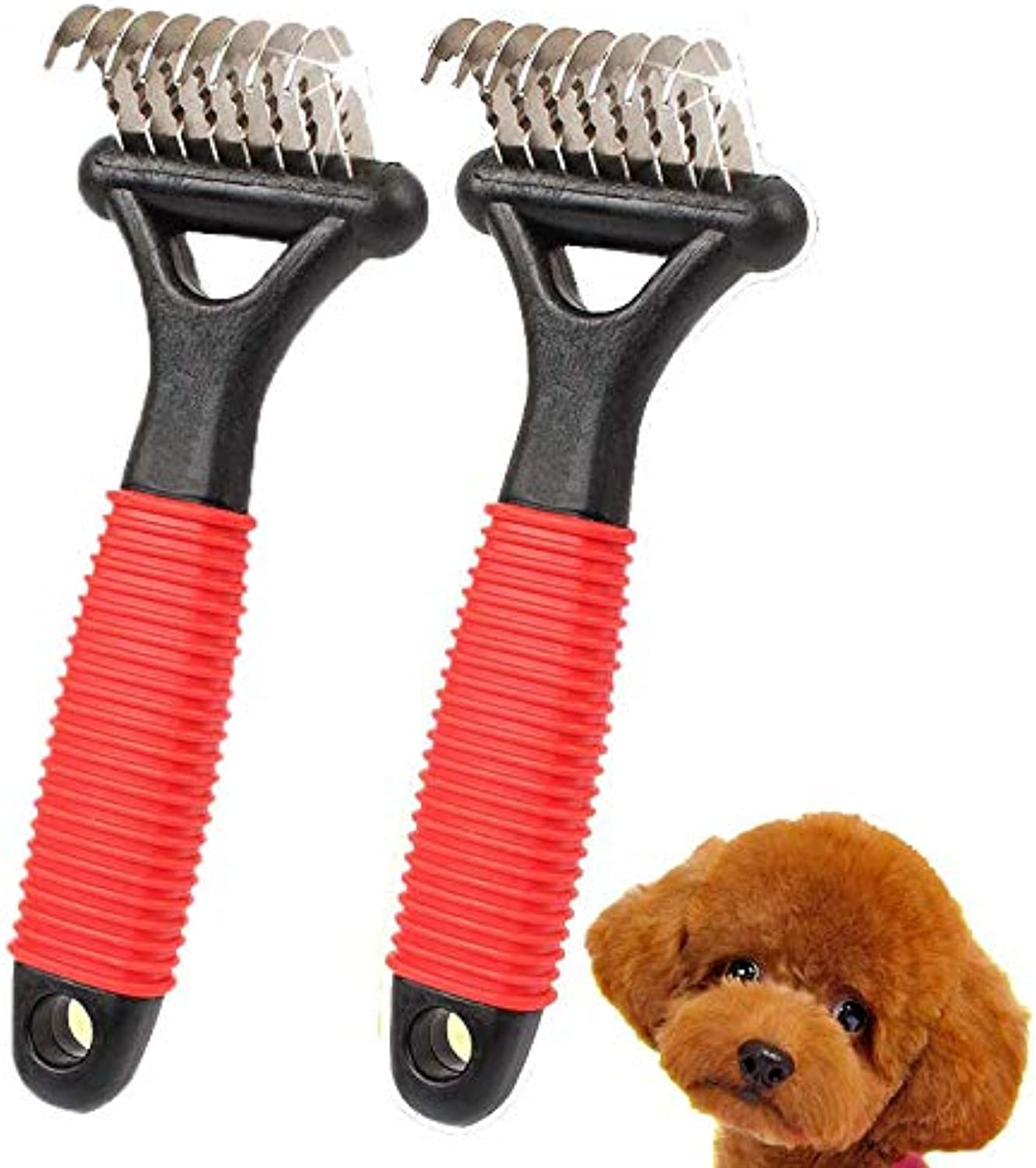 Dog Comb, Dog Detangler, Dog Grooming Tools, Dematting Rake Brush with Small Blades  Easily Removes Mats, Knots & Tangles Quickly