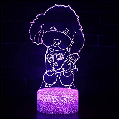 MEILUAIMU Luz de Ambiente de habitación acrílica Serie de Perros encantadores Luz de Noche 3D Mesa de Dormitorio en casa Luz de Noche Lámpara de Panel acrílico