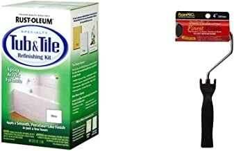 "Rust-Oleum 7860519 Tub and Tile Refinishing 2-Part Kit, White, 32 oz & Foam PRO 184 4"" Finest Finish Mini Foam Paint Rolle..."