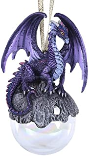 Pacific Giftware Hoarfrost Purple Dragon Glass Ball Ornament by Ruth Thompson Tree Decoration Gift Decor