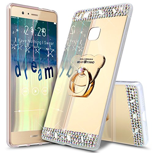 ikasus Coque Huawei Honor 5A Silicone Etui [Support d'ours] Placage brillant Strass bling diamant Miroir Silicone Gel TPU Souple Housse Etui de Protection Case Coque pour Huawei Honor 5A,Or