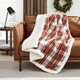 Eddie Bauer Home | Flannel Collection | Throw Blanket-Reversible Sherpa Fleece Cover, Soft & Cozy, Perfect for Bed or Couch, Edgewood Red