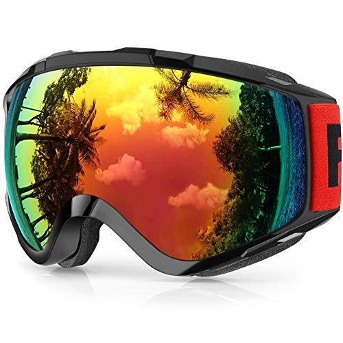 findway Gafas de Esquí,Máscara Gafas Esqui Snowboard Nieve Espejo para Hombre Mujer Adultos Juventud Jóvenes, Anti Niebla Gafas de Esquiar OTG,Protección UV Rojo Esférica Lentes