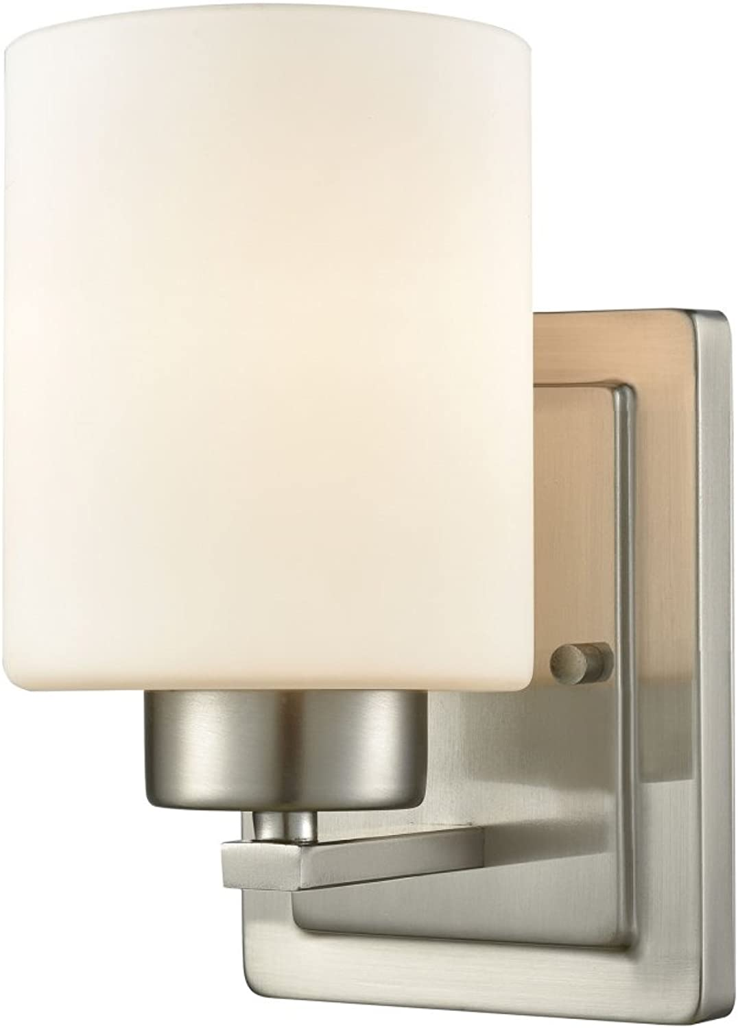 Elk Lighting CN579172 Summit Place 1-Light for The Bath in Brushed Nickel with Opal White Glass Vanity Wall Sconce