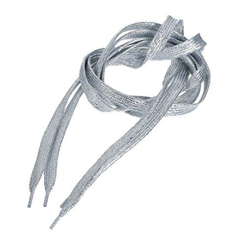 SiAura Material - 2 Streifen geflochtene glitzernde Schnürsenkel, Silber, 108cm lang