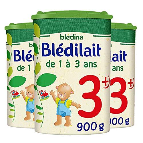 Blédina Blédilait Croissance 3+ Lait en Poudre pour Bébé, 12 à 36 mois, Le Lot de 3 x 900g
