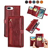 DEFBSC Funda para iPhone 6 Plus/iPhone 6S Plus/iPhone 7 Plus/iPhone 8 Plus, funda de piel sintética con cierre magnético, tapa tipo cartera, estilo vintage, con ranuras para tarjetas, color rojo