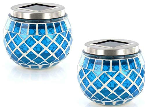 2 x Solar Powered Blue Mosaic Solar Lights Garden Table LAMP Patio DECKING Feature