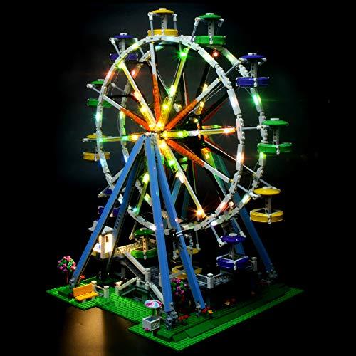 TZH Kit De Luces LED para Bloques De Construcción (Noria), Modelo De Ladrillos, Juego De Luces USB Compatible con Lego 10247 (Modelo No Incluido)