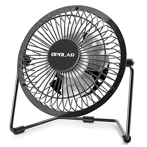 OPOLAR 4 Inch USB Desk Personal Fan with 2 Setting, Metal Design, Quiet Operation, 360 Rotation, Portable Mini Table Fan, Perfect for Home, Office, Desktop