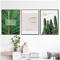 LLXHG緑の植物の葉のポスターサボテンの壁の芸術のキャンバスの絵画居間の家の装飾のための壁の絵キャンバスの絵画-40X50Cmx3Pcs非フレーム