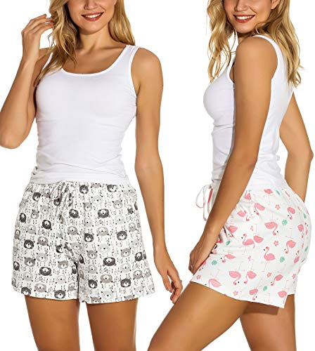 WOAIVOOU 1&2 Pieces Women Casual Sleep Shorts Stretchy Cotton Pajama Bottoms Lounge Shorts