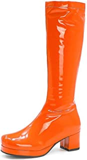 Vrouwen Kalfs Laarzen, Lakleer Platte Hoge Laarzen, Ronde Neus Dikke Hak Mode Sexy Damesschoenen,Orange,31