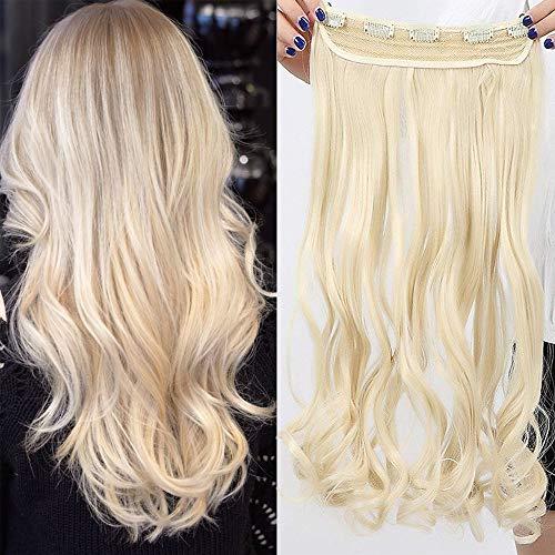 TESS Haarteil Clip in Extensions wie Echthaar Blond Haarverlängerung 1 Tresse 5 Clips günstig Gewellt Haarverdichtung 17'(43cm)-120g