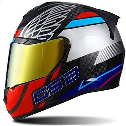 ZHXH Retro Motorradhelm Adult Unisex Carbon Fiber Motorrad Integralhelm im Einklang mit Dot Approval,