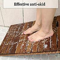 JIAJUAN 天然木 シャワー 浴 マット, 一定温度 滑り止め フットペダル 変形していない 防水パッド 無垢材、カスタマイズ可能なサイズ (Color : A, Size : 80x90cm)