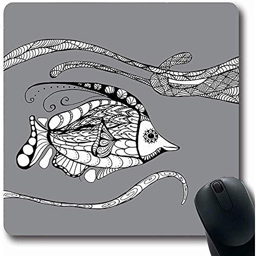 Mousepads blauwe zee wezens lijn Mascara zwarte schets natuur volwassen kleuren Contour koraal krab ontwerp tekenen Oblong vorm 18X22Cm anti-slip Gaming Mouse Pad