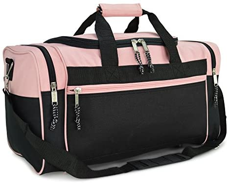 DALIX 21″ Blank Sports Duffle Bag Gym Bag Travel Duffel with Adjustable Strap in Pink