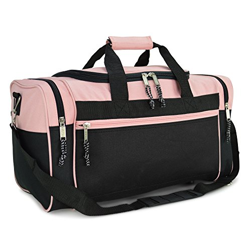 DALIX 21' Blank Sports Duffle Bag Gym Bag Travel Duffel with Adjustable Strap in Pink