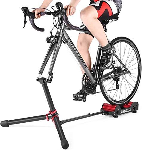 YZPJSQ Vélo Pliable Entraîneur Rouleaux - vélo Exercice intérieur entraînement extérieur Trainning vélo Stationnaire Montagne et vélo de Route Entraîneur vélo Portable, 5 Résistance Réglage
